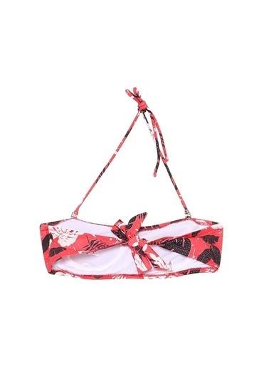 Limon Company Limon Toles Kırmızı - Beyaz - Siyah Desenli Kadın Bikini Üst Kırmızı